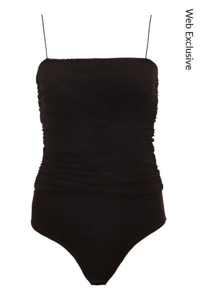 Black Ruched Strappy Bodysuit